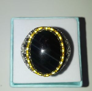 925 Silver and Gold, black onyx ring size 10